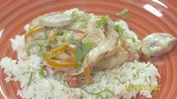 Κοτόπουλο αλα κρεμ με ρύζι και λαχανικά