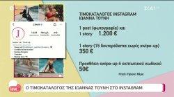 Ο τιμοκατάλογος της Ιωάννας Τούνη στο Instagram