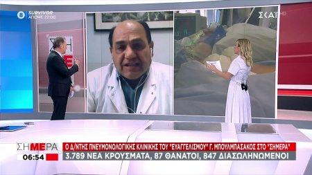 Ο Δ/ντης Πνευμονολογικής κλινικής του Ευαγγελισμού Γ. Μπουλμπασάκος στον ΣΚΑΪ