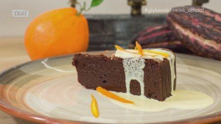 Γλυκές Αλχημείες   Υγρό κέικ σοκολάτας με κρεμ ανγκλέζ πορτοκαλιού