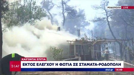 Ο δήμαρχος Διονύσου στον ΣΚΑΪ - Εκτός ελέγχου η φωτιά σε Σταμάτα - Ροδόπολη