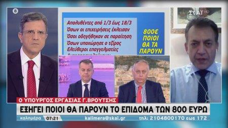 Ο υπουργός Εργασίας Γ. Βρούτσης εξηγεί ποιοι θα πάρουν το επίδομα των 800 ευρώ