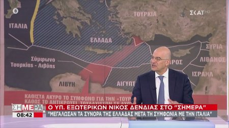 Δένδιας: Μεγάλωσαν τα σύνορα της Ελλάδας μετά τη συμφωνία με την Ιταλία | 10/06/2020