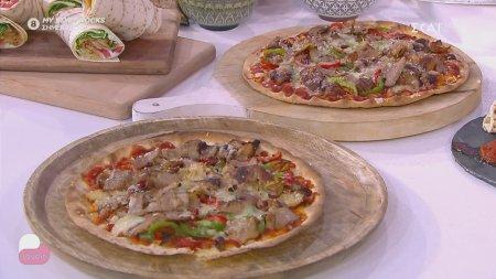 Ο chef Αλέξανδρος Παπανδρέου φτιάχνει πίτσα με αραβική πίτα, γύρο χοιρινό , πιπεριές και τυριά