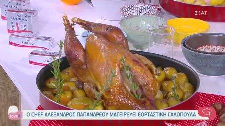 Ο chef Αλέξανδρος Παπανδρέου μαγειρεύει εορταστική γαλοπούλα