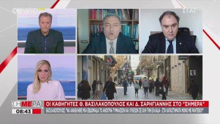 Βασιλακόπουλος: Δεν έχει κανένα νόημα η απαγόρευση κυκλοφορίας στις 6 το απόγευμα, εφόσον δε λειτουργεί η εστίαση