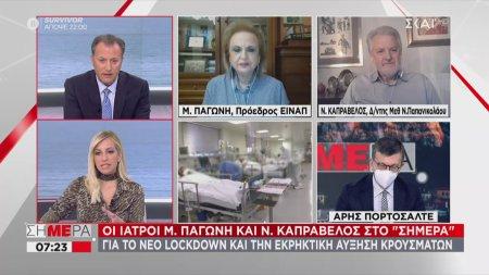 Παγώνη - Καπραβέλος σε ΣΚΑΪ: 72% κάλυψη ΜΕΘ στην Αττική - Σκληρό lockdown και σε Πάτρα, Θεσσαλονίκη