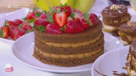 Νηστίσιμο τριώροφο κέικ με σοκολάτα & φυστικοβούτυρο