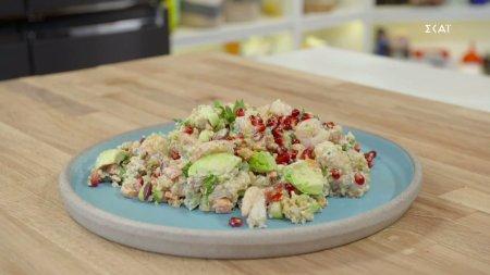 Σαλάτα με γαρίδες, πλιγούρι & ταχίνι