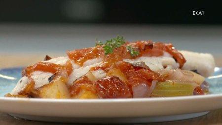 Μπακαλιάρος φούρνου με λαχανικά