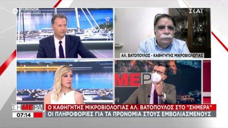 Βατόπουλος- ΣΚΑΪ: Ασφάλεια υπάρχει 15 ημέρες μετά τη 2η δόση του εμβολίου- Τι είπε για μάσκα